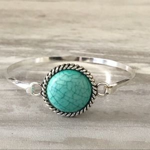 Jewelry - Imitation Turquoise Focal Silver-Plated Bangle
